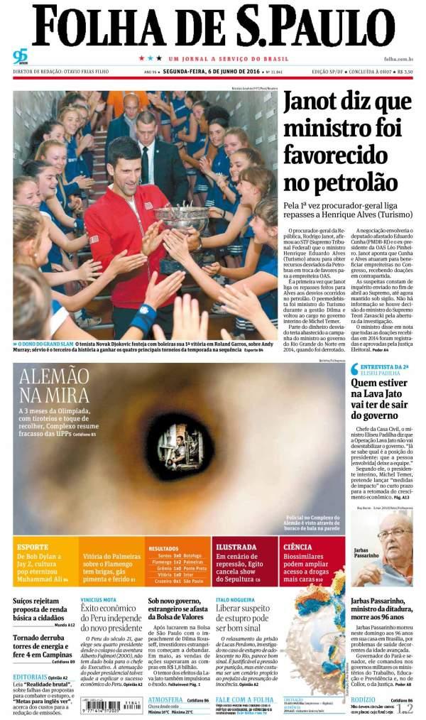 O ministro potiguar Henrique Alves é manchete nesta segunda feira, 6, no jornal Folha de São Paulo.