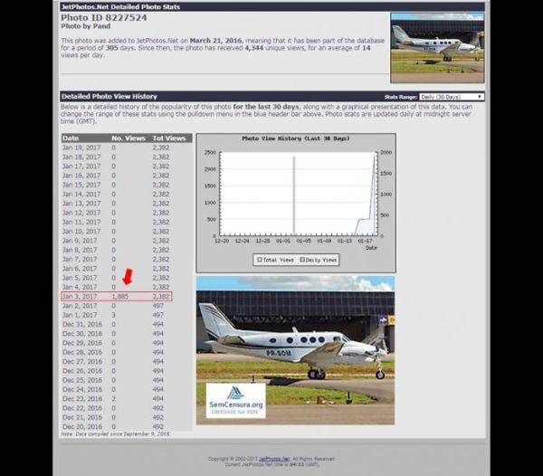 Ficha de avião que vitimou Teori foi visitado 1.885 vezes.